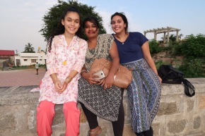 Lesli, Geri and Mrs. Fazila enjoying Mysore's view.